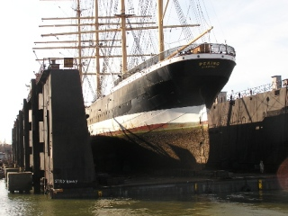 Stern of Peking in dry dock, 2008
