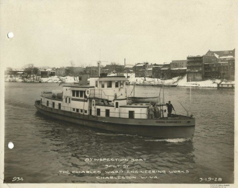 bt5CORPS OF ENGINEERS 85ft INSPECTION BOAT GENERAL HUMPHREYS 3- 19- 1928