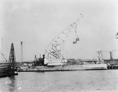 bb2USS Kearsarge FORMER BATTLE AHIP CONVERTE4D TO CRANE SHIP PHILA NAVY YARD 1923